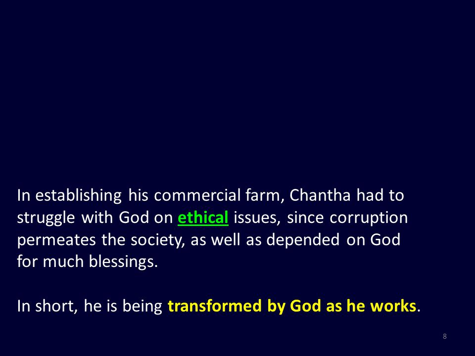 19 Work is a platform for Obedience (unto God) Work is a platform for Transformation (of ourselves) Work is a platform for Ministry (to others)