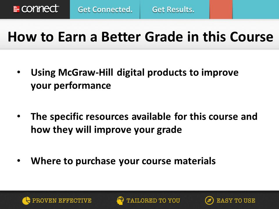 What Connect Means to YOU Average Course Grades C+  B+ Helps you manage your time most effectively Works with you to customize a plan for achieving greater performance Provides feedback and analysis to support your learning needs