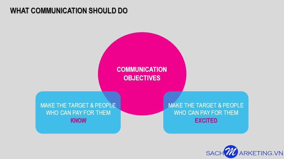 WHAT COMMUNICATION SHOULD DO COMMUNICATION OBJECTIVES MAKE THE TARGET & PEOPLE WHO CAN PAY FOR THEMEXCITED KNOW