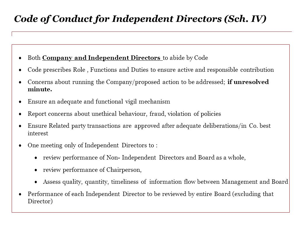 Code of Conduct for Independent Directors (Sch.