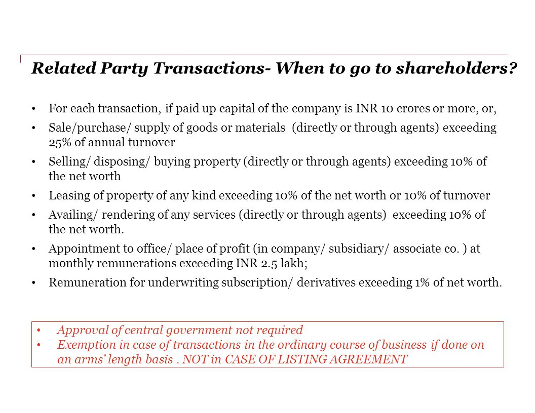 Related Party Transactions- When to go to shareholders.