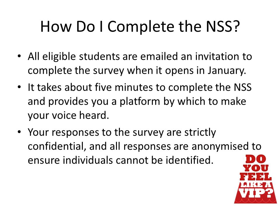 How Do I Complete the NSS.