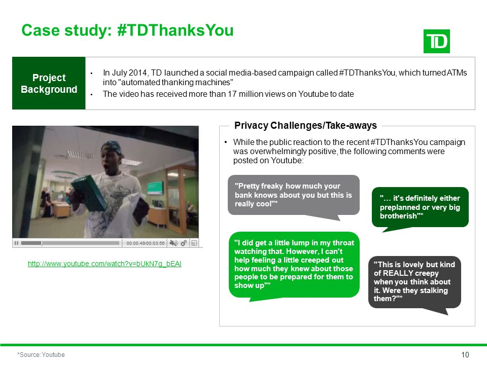 Case study: #TDThanksYou In July 2014, TD launched a social media-based campaign called #TDThanksYou, which turned ATMs into