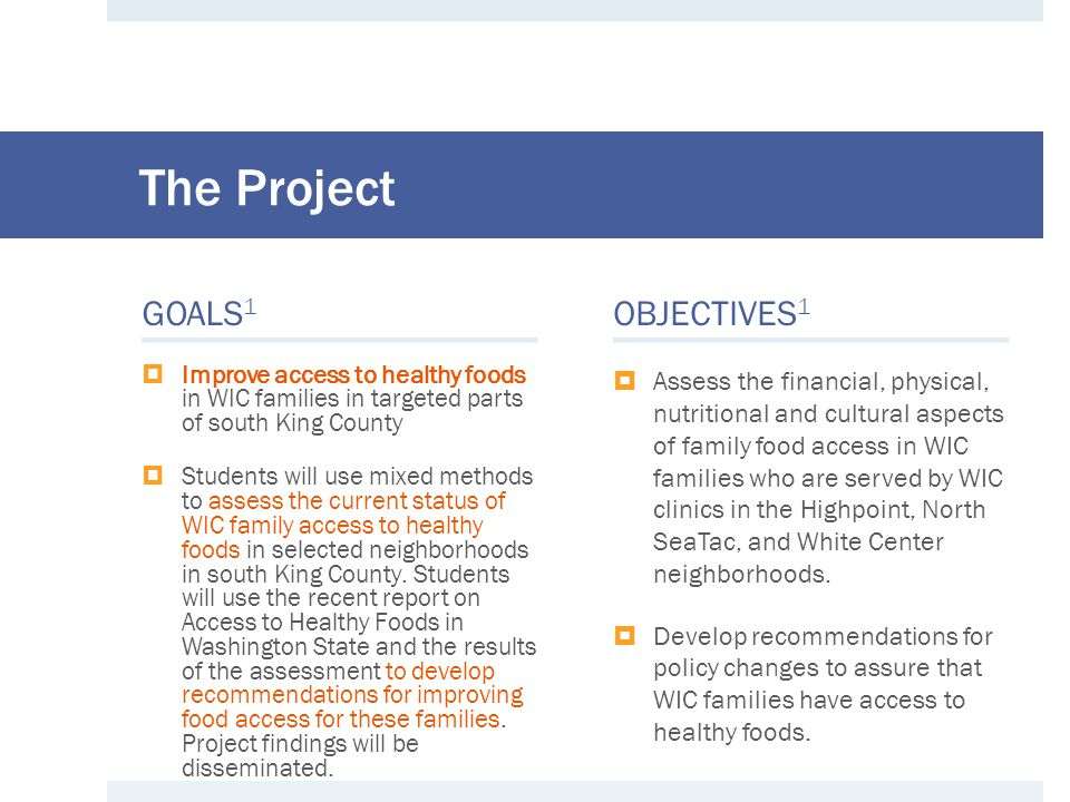 Our Translation of The Project ◘ Assess food insecurity among WIC clients and where they are currently using their WIC benefits ◘ Report on outcomes of food access evaluation in WIC families ◘ This information will provide current healthy food access and food security in WIC families and recommendations for WIC services in South King County