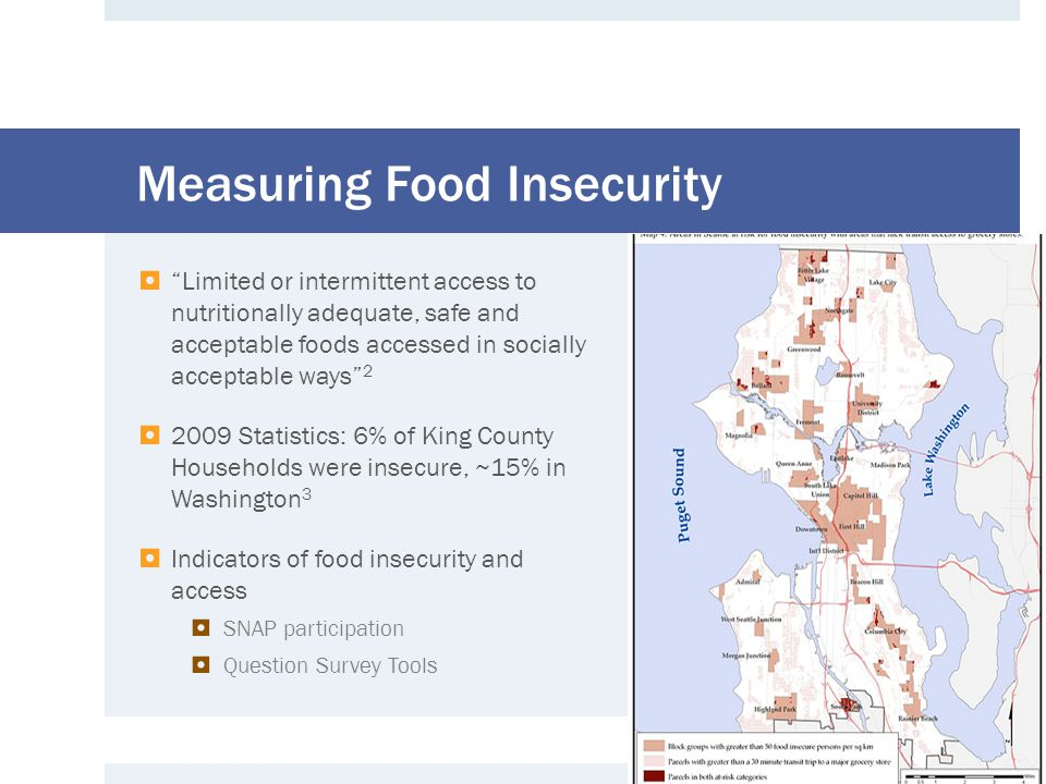 SNAP Usage Results  a good portion of food insecure households are not using SNAP  70% live in household with SNAP in last 12 mos.