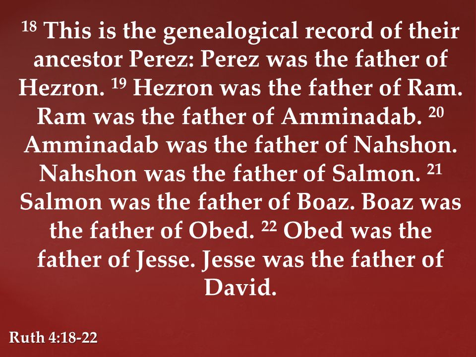 18 This is the genealogical record of their ancestor Perez: Perez was the father of Hezron.