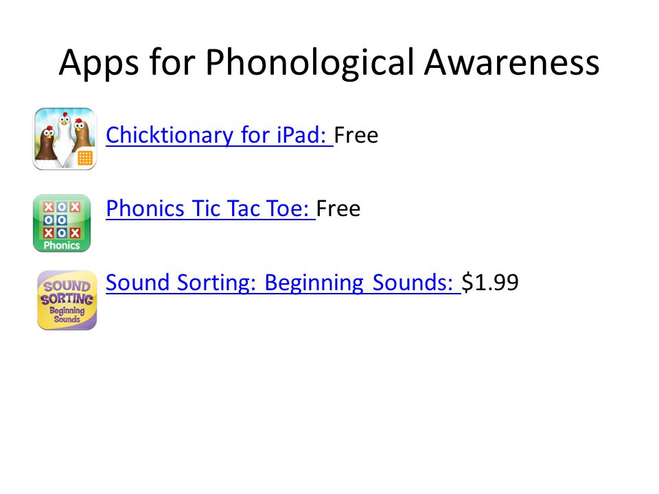 Apps for Phonological Awareness Chicktionary for iPad: Chicktionary for iPad: Free Phonics Tic Tac Toe: Phonics Tic Tac Toe: Free Sound Sorting: Beginning Sounds: Sound Sorting: Beginning Sounds: $1.99
