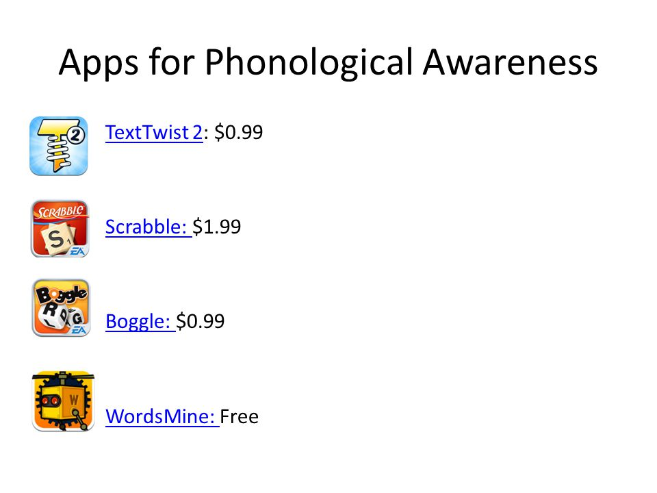 Apps for Phonological Awareness TextTwist 2TextTwist 2: $0.99 Scrabble: Scrabble: $1.99 Boggle: Boggle: $0.99 WordsMine: WordsMine: Free