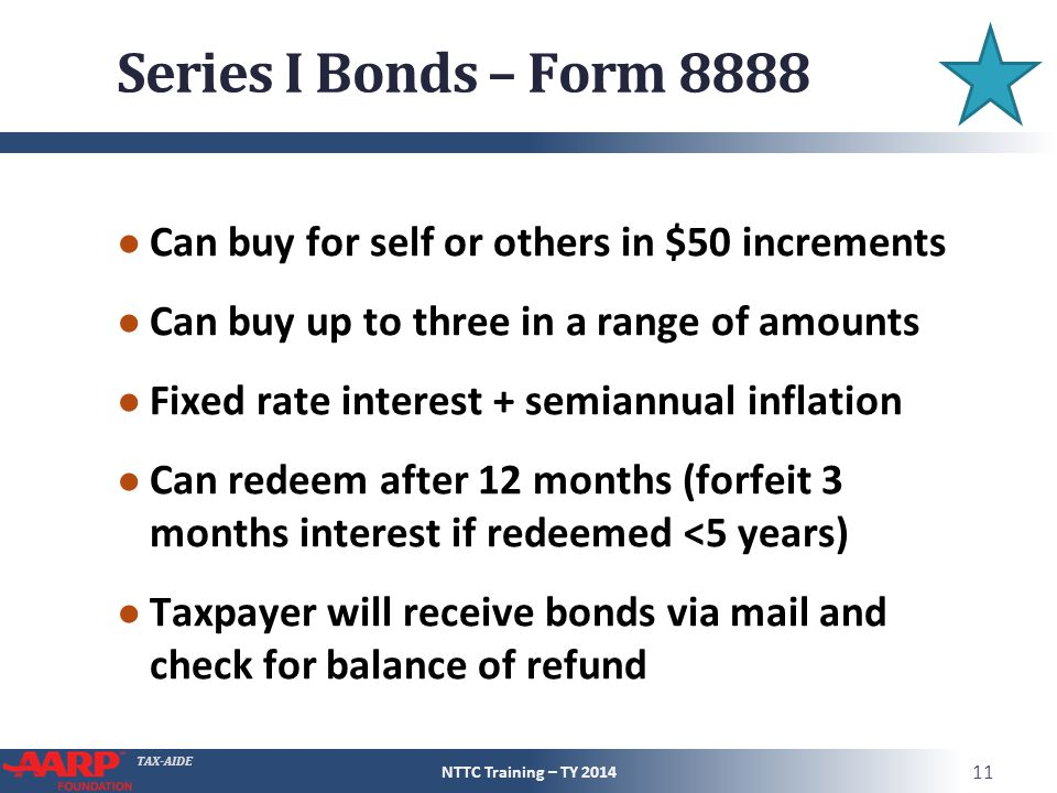 TAX-AIDE Series I Bonds – Form 8888 ● Can buy for self or others in $50 increments ● Can buy up to three in a range of amounts ● Fixed rate interest +