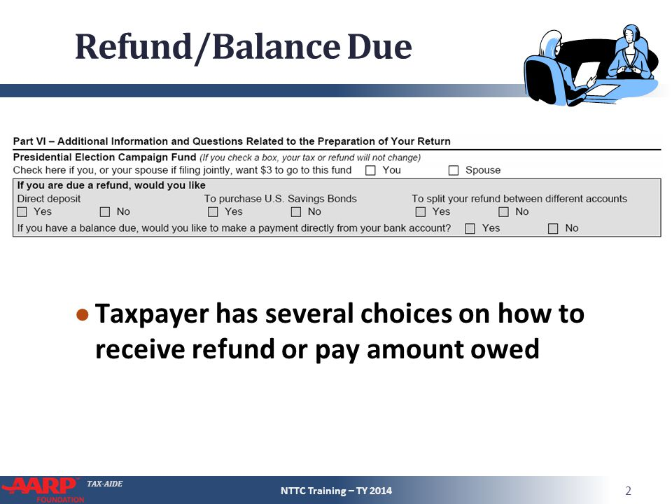 TAX-AIDE Refund/Balance Due ● Taxpayer has several choices on how to receive refund or pay amount owed NTTC Training – TY 2014 2