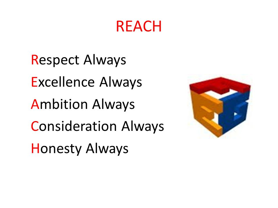 REACH Respect Always Excellence Always Ambition Always Consideration Always Honesty Always