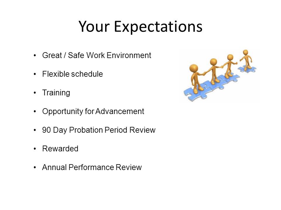 Your Expectations Great / Safe Work Environment Flexible schedule Training Opportunity for Advancement 90 Day Probation Period Review Rewarded Annual Performance Review
