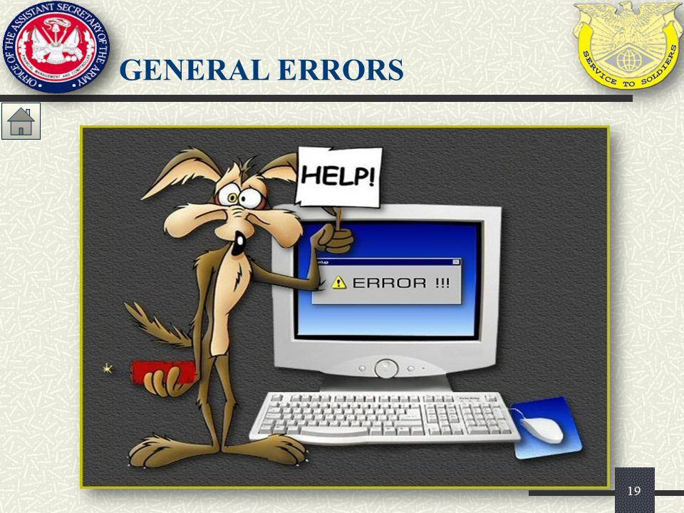 19 GENERAL ERRORS