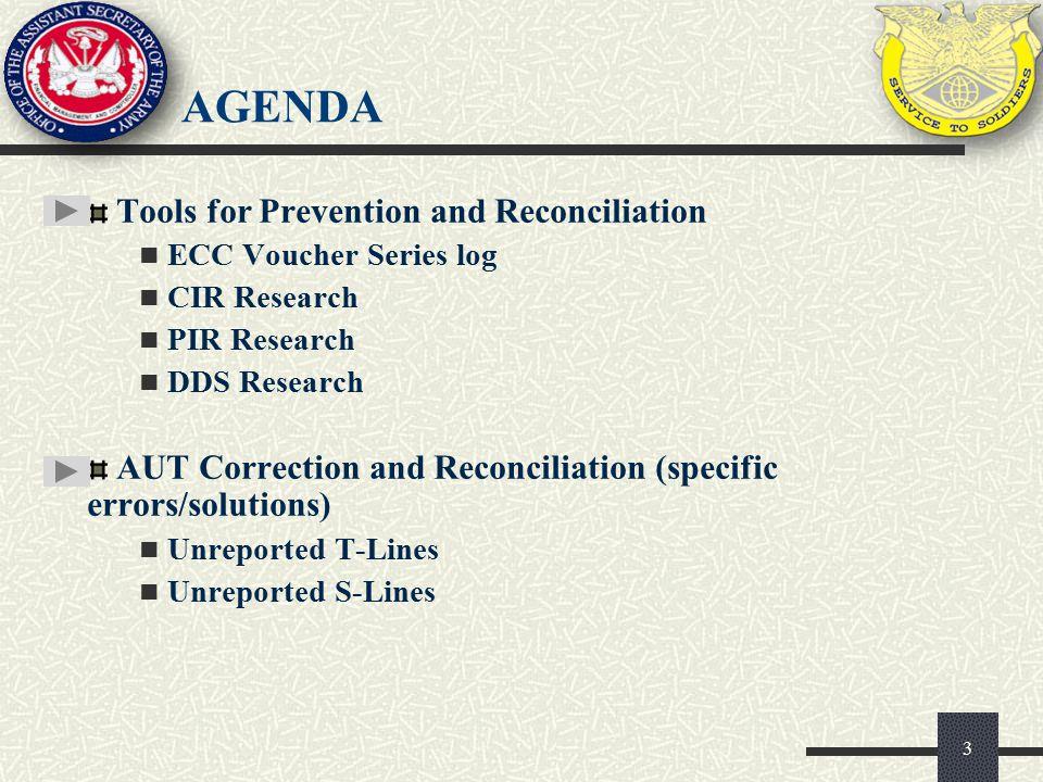 AGENDA Tools for Prevention and Reconciliation ECC Voucher Series log CIR Research PIR Research DDS Research AUT Correction and Reconciliation (specif