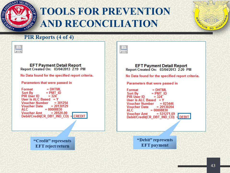 "PIR Reports (4 of 4) 43 TOOLS FOR PREVENTION AND RECONCILIATION ""Credit"" represents EFT reject/return ""Debit"" represents EFT payment"
