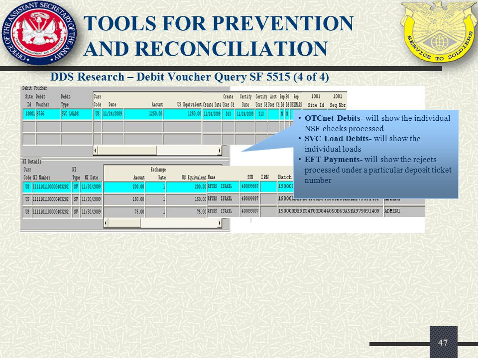 DDS Research – Debit Voucher Query SF 5515 (4 of 4) 47 TOOLS FOR PREVENTION AND RECONCILIATION OTCnet Debits- will show the individual NSF checks proc