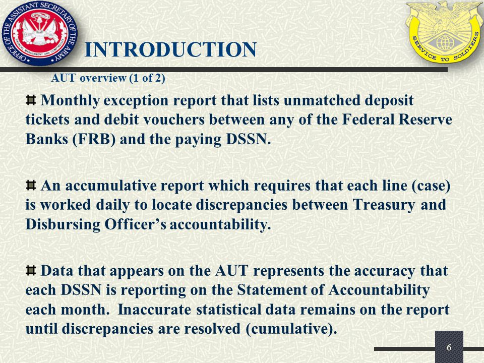 Monthly exception report that lists unmatched deposit tickets and debit vouchers between any of the Federal Reserve Banks (FRB) and the paying DSSN. A