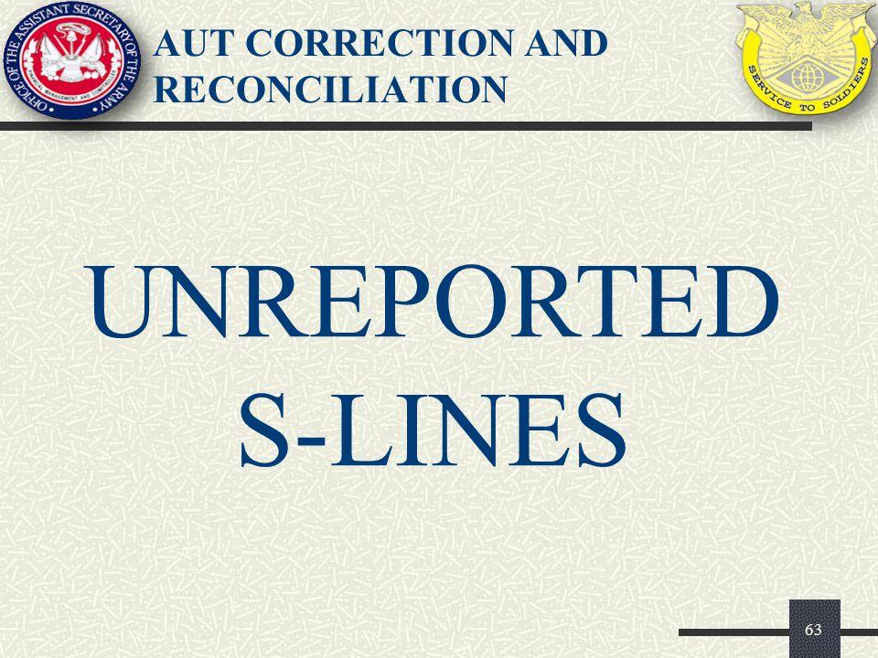 AUT CORRECTION AND RECONCILIATION 63 UNREPORTED S-LINES