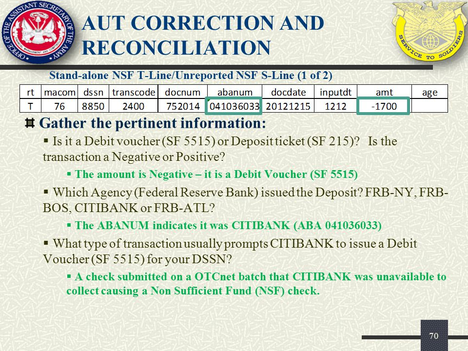 AUT CORRECTION AND RECONCILIATION Stand-alone NSF T-Line/Unreported NSF S-Line (1 of 2) 70 Gather the pertinent information:  Is it a Debit voucher (