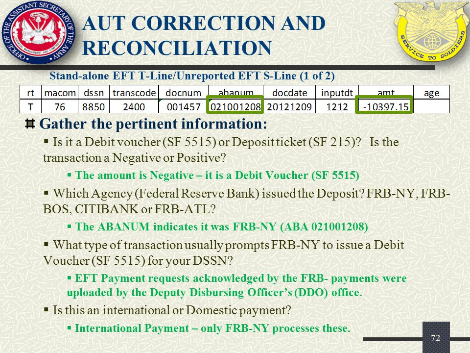 AUT CORRECTION AND RECONCILIATION Stand-alone EFT T-Line/Unreported EFT S-Line (1 of 2) 72 Gather the pertinent information:  Is it a Debit voucher (