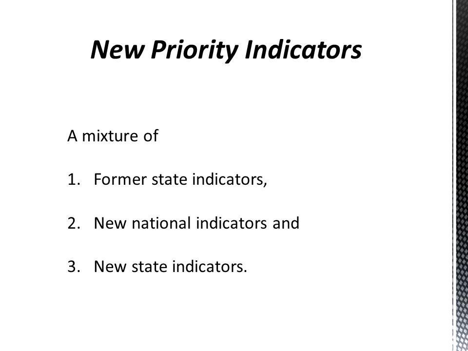 A mixture of 1.Former state indicators, 2. New national indicators and 3. New state indicators.