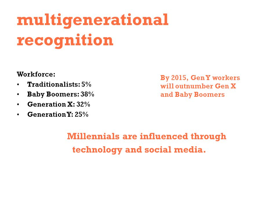 multigenerational recognition Workforce: Traditionalists: 5% Baby Boomers: 38% Generation X: 32% Generation Y: 25% Millennials are influenced through
