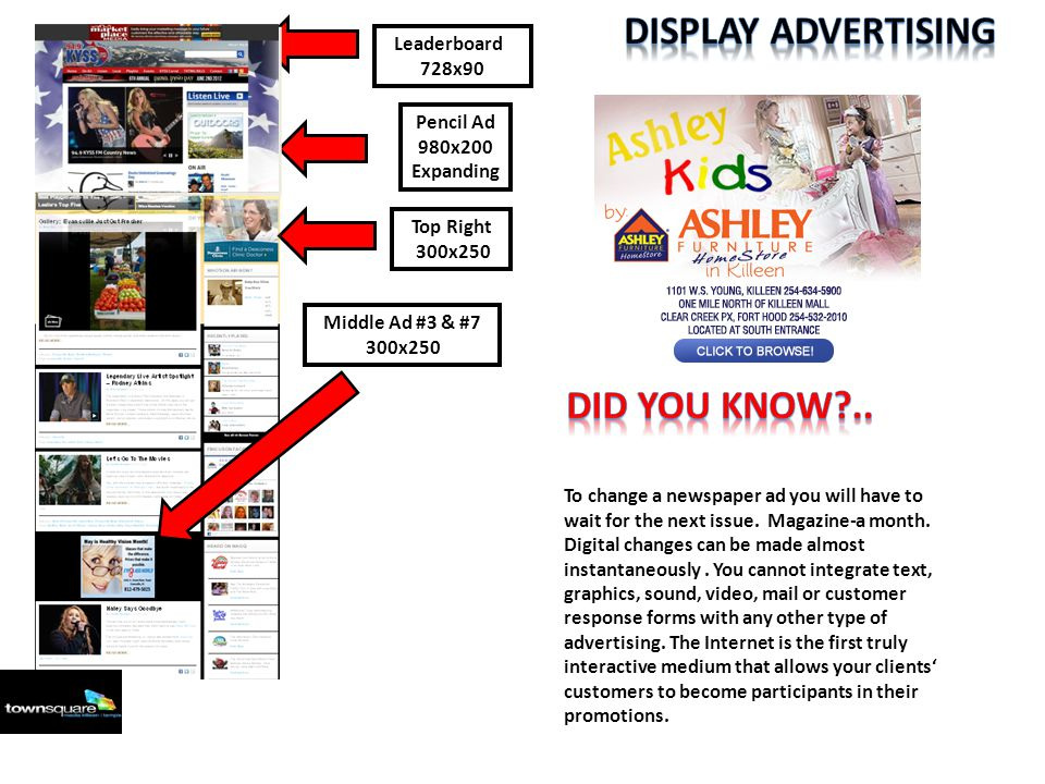 Leaderboard 728x90 Pencil Ad 980x200 Expanding Middle Ad #3 & #7 300x250 Top Right 300x250 To change a newspaper ad you will have to wait for the next issue.
