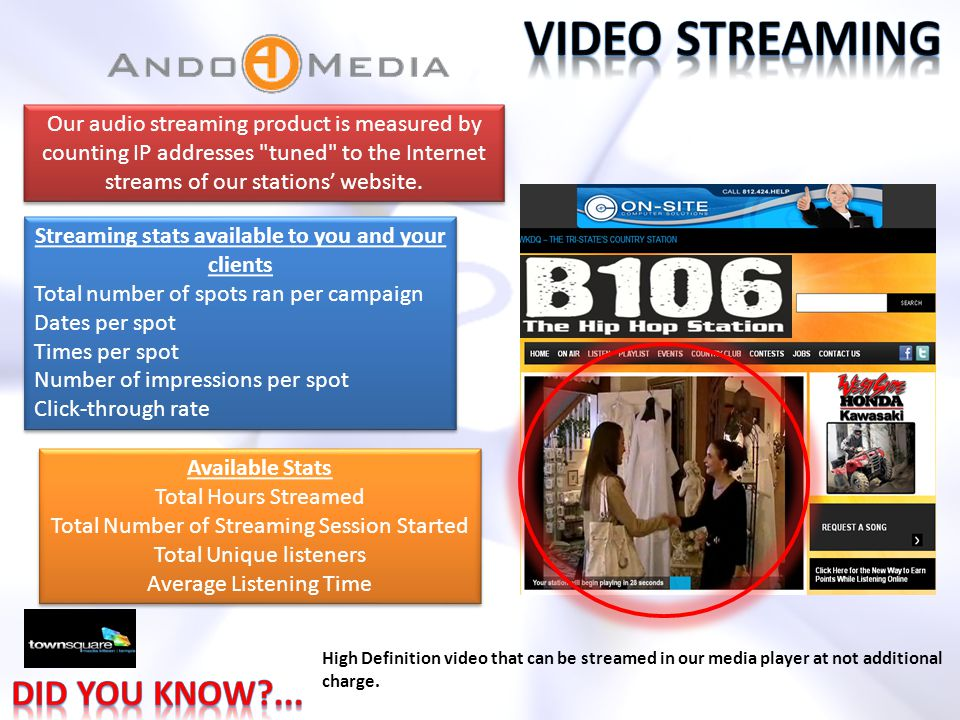 Our audio streaming product is measured by counting IP addresses tuned to the Internet streams of our stations' website.