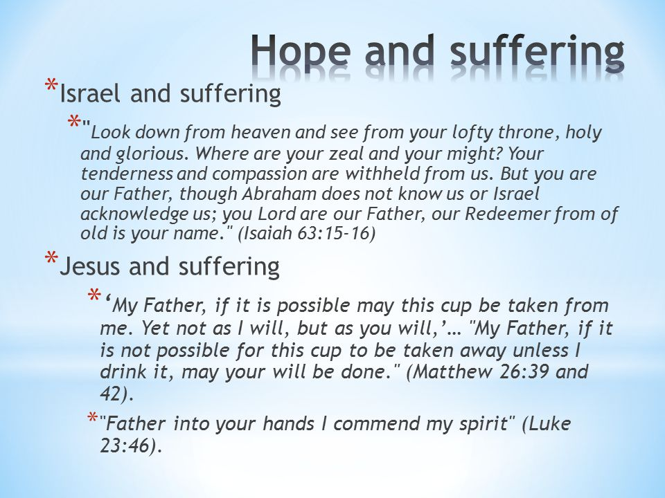 * Israel and suffering * Look down from heaven and see from your lofty throne, holy and glorious.