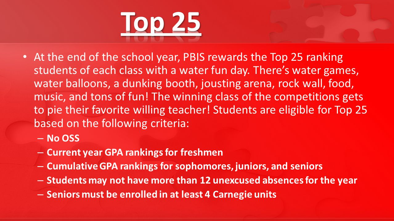 At the end of the school year, PBIS rewards the Top 25 ranking students of each class with a water fun day.