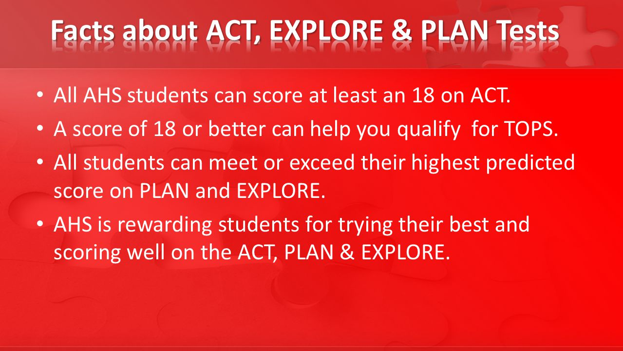 All AHS students can score at least an 18 on ACT.