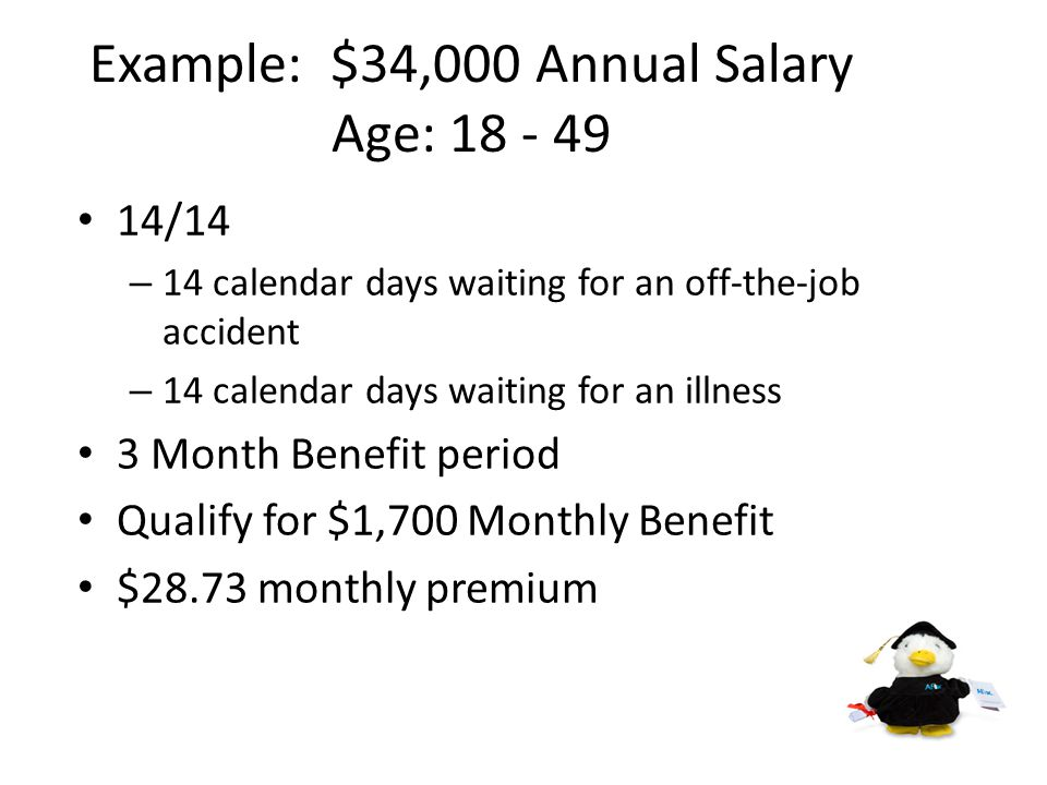 Income Replacement Example Jewell employees are provided long-term disability that begins after 120 days for an illness or off-the-job accident.