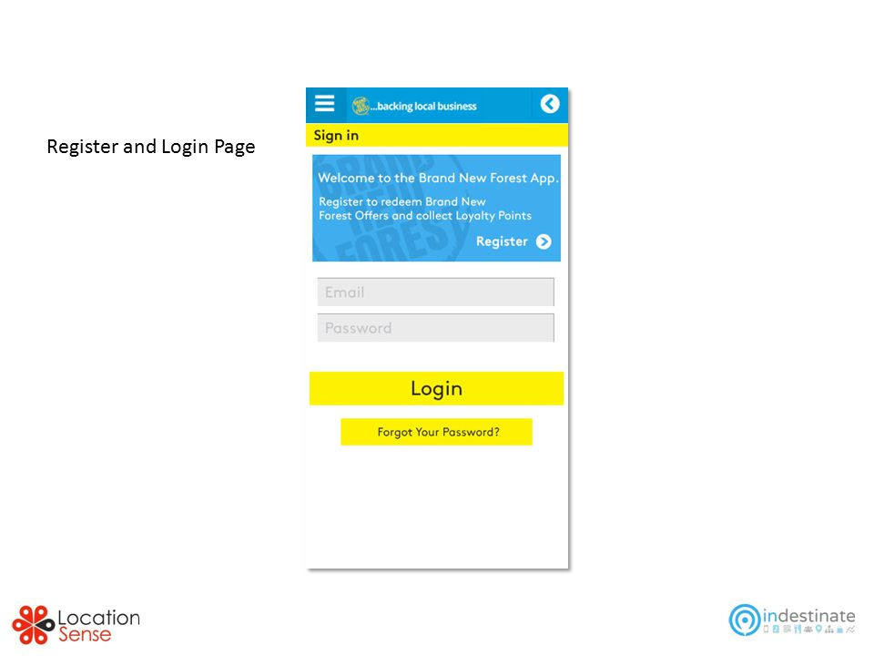 Register and Login Page