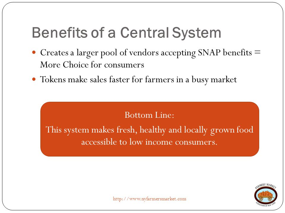 Benefits of a Central System http://www.nyfarmersmarket.com Creates a larger pool of vendors accepting SNAP benefits = More Choice for consumers Token