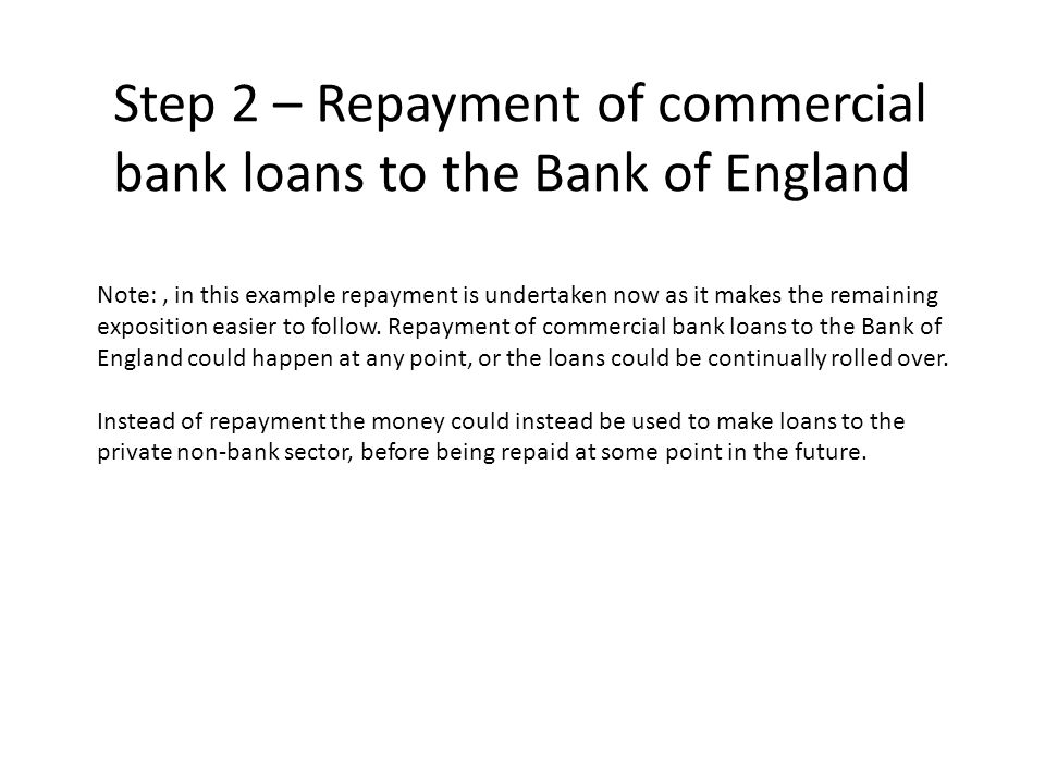 Step 2 – Repayment of commercial bank loans to the Bank of England Note:, in this example repayment is undertaken now as it makes the remaining exposi