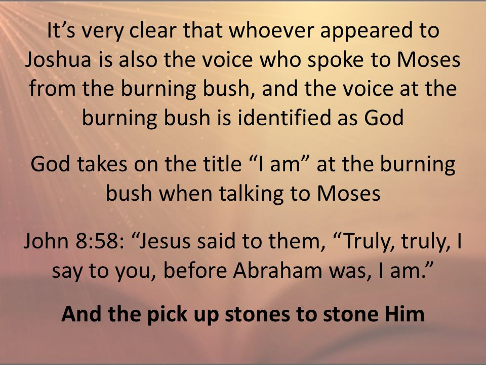 It's very clear that whoever appeared to Joshua is also the voice who spoke to Moses from the burning bush, and the voice at the burning bush is ident
