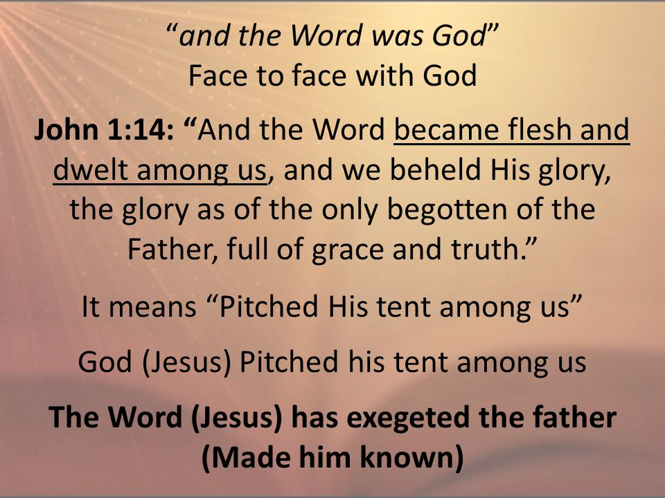 """and the Word was God"" Face to face with God John 1:14: ""And the Word became flesh and dwelt among us, and we beheld His glory, the glory as of the on"