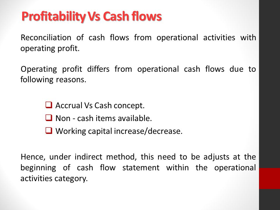 Profitability Vs Cash flows Reconciliation of cash flows from operational activities with operating profit.