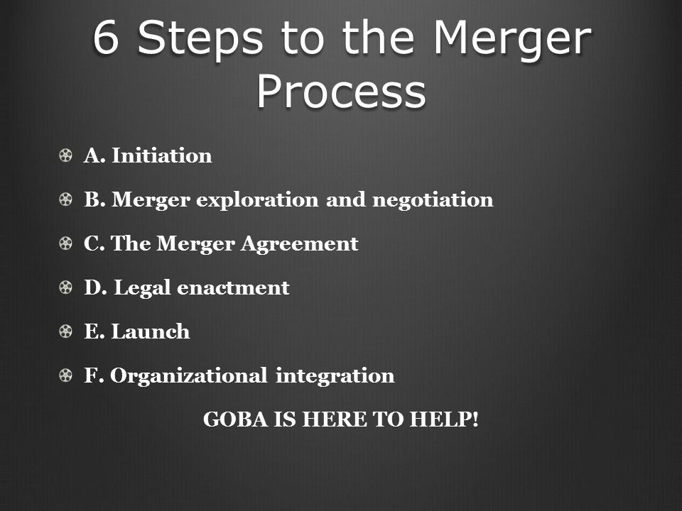 6 Steps to the Merger Process A. Initiation B. Merger exploration and negotiation C.