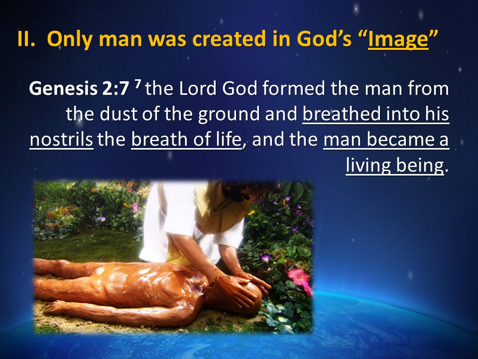 Created in God's Image… Unlike angels & animals, man made in natural & moral likeness to God Unlike angels & animals, man made in natural & moral likeness to God