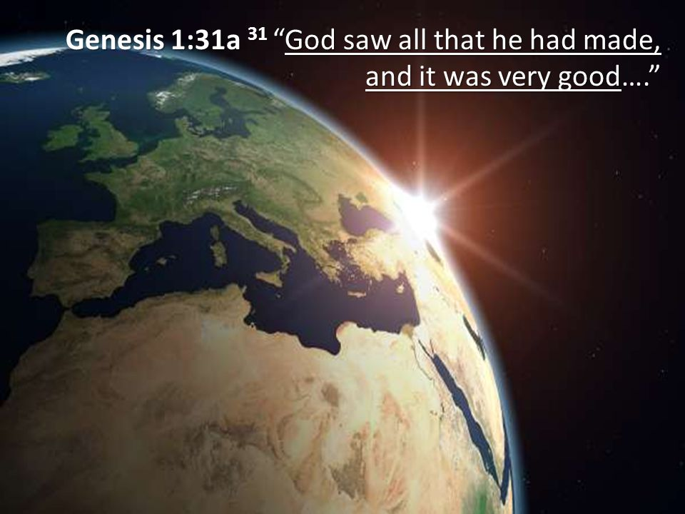 "Genesis 1:31a 31 ""God saw all that he had made, and it was very good…."""