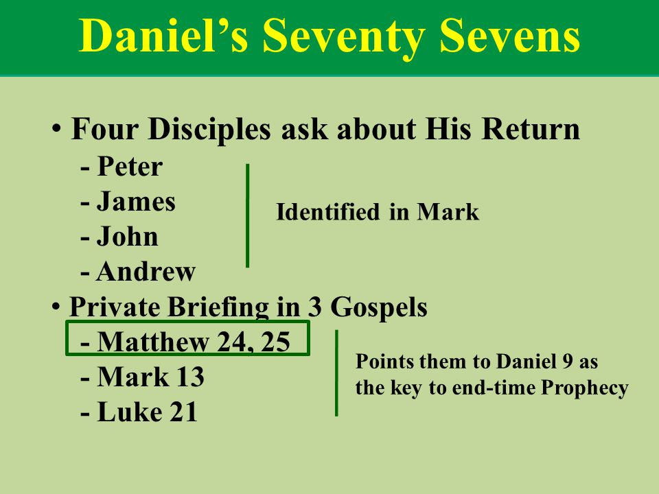 Daniel's Seventy Sevens Four Disciples ask about His Return - Peter - James - John - Andrew Private Briefing in 3 Gospels - Matthew 24, 25 - Mark 13 - Luke 21 Identified in Mark Points them to Daniel 9 as the key to end-time Prophecy