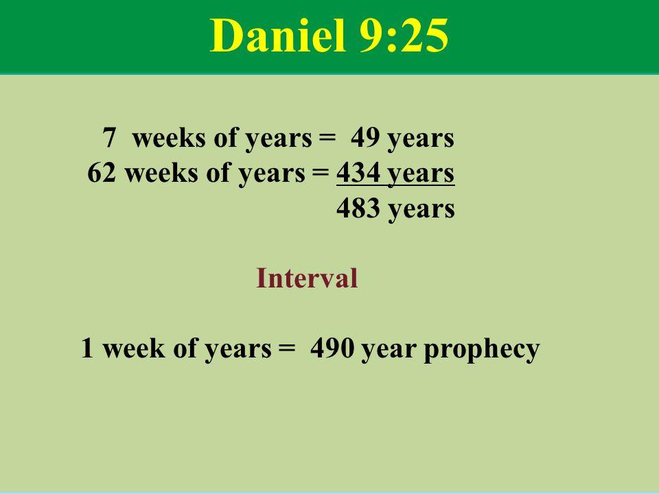 Daniel 9:25 7 weeks of years = 49 years 62 weeks of years = 434 years 483 years Interval 1 week of years = 490 year prophecy