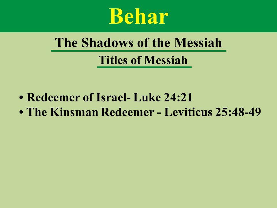 Behar The Shadows of the Messiah Titles of Messiah Redeemer of Israel- Luke 24:21 The Kinsman Redeemer - Leviticus 25:48-49
