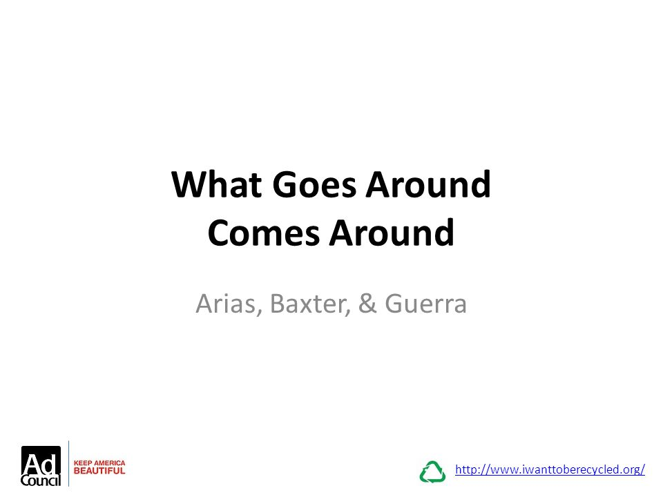 What Goes Around Comes Around Arias, Baxter, & Guerra http://www.iwanttoberecycled.org/