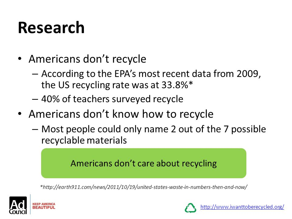 Research Americans don't recycle – According to the EPA's most recent data from 2009, the US recycling rate was at 33.8%* – 40% of teachers surveyed r