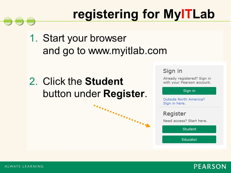 registering for MyITLab 1.Start your browser and go to www.myitlab.com 2.Click the Student button under Register.