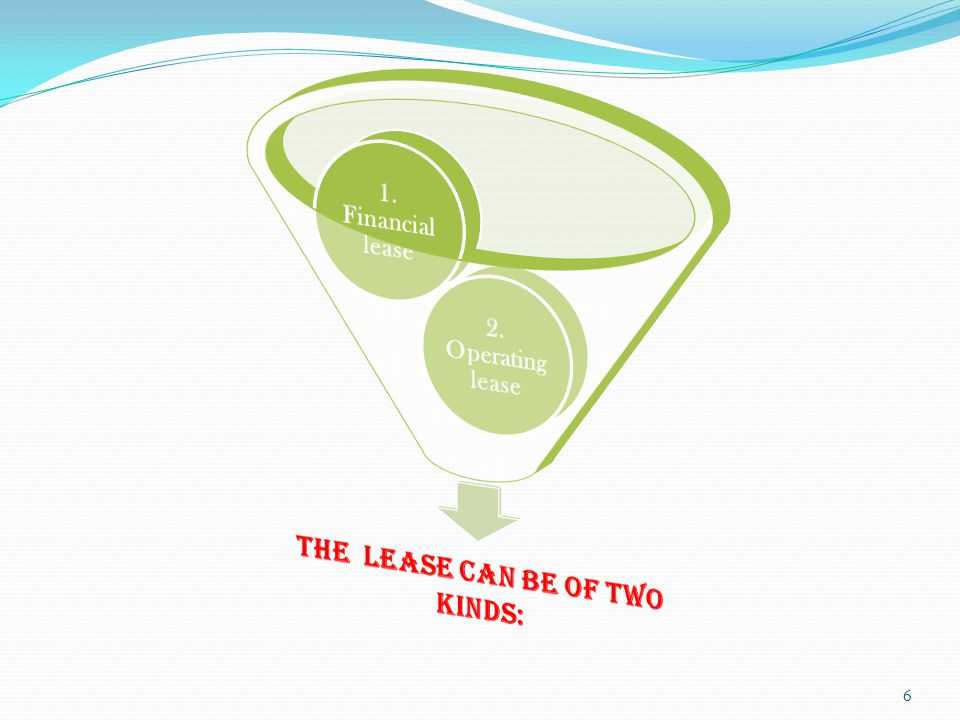 An operating lease is the first lease that appeared on the market.