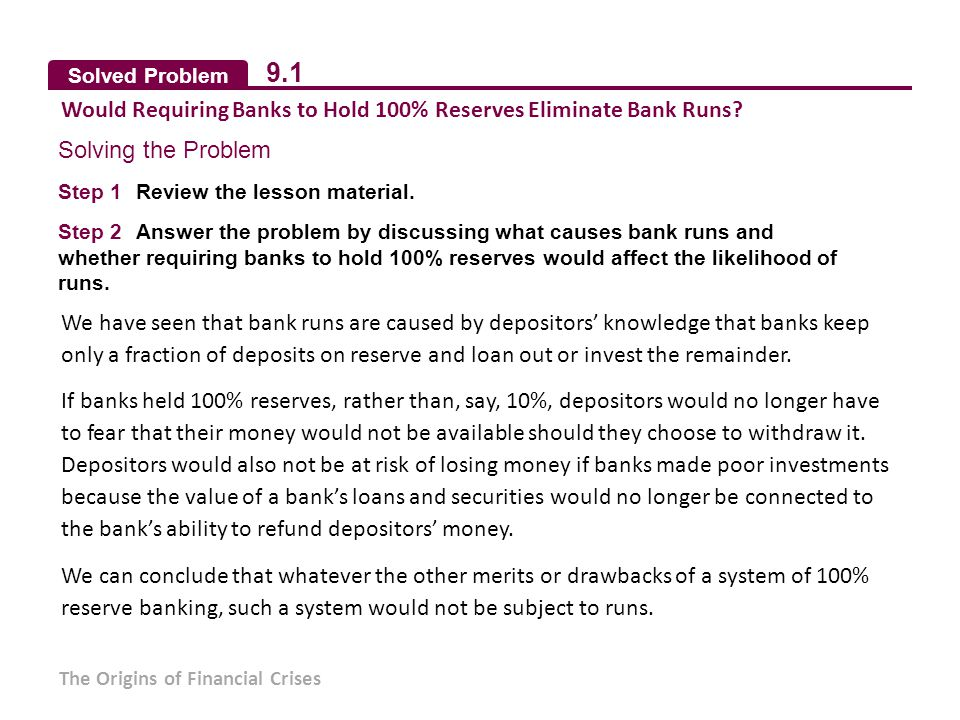 Solved Problem 9.1 Would Requiring Banks to Hold 100% Reserves Eliminate Bank Runs.
