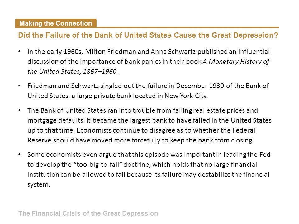 Making the Connection Did the Failure of the Bank of United States Cause the Great Depression.